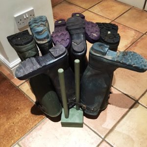 wellie boots holder wooden