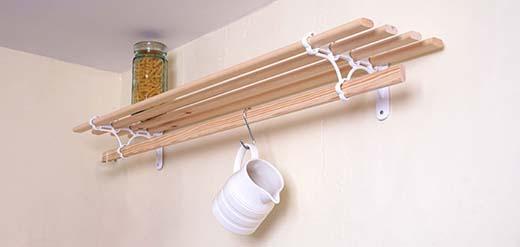 wooden kitchen pot shelf unit