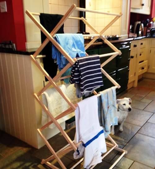 Folding wooden clothes airer